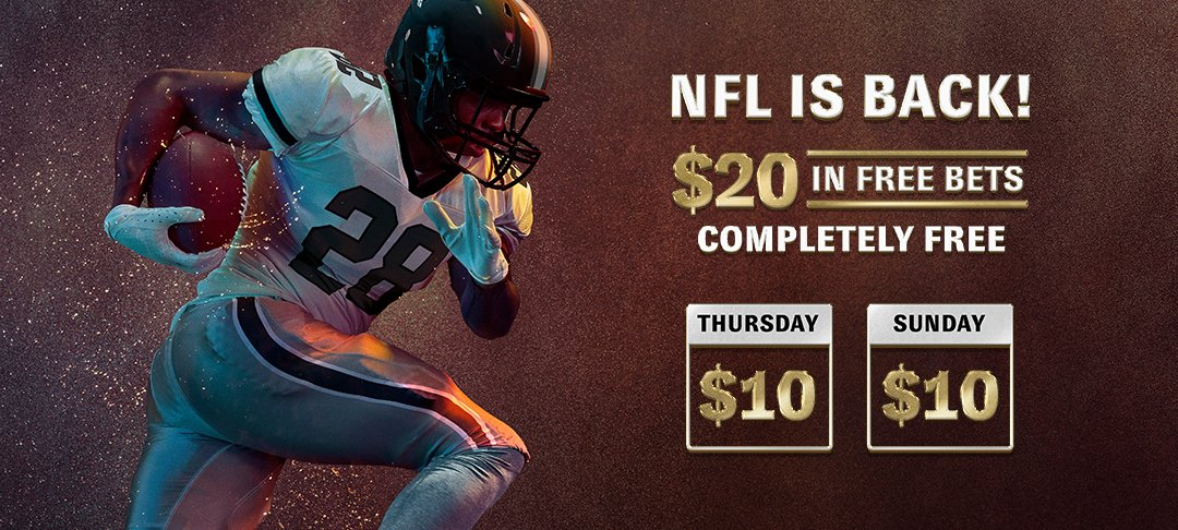 BetMGM $20 free bet promotion for the NFL 2020 season banner