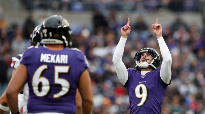 Kicker Justin Tucker #9 of the Baltimore Ravens during a game against Houston Texans