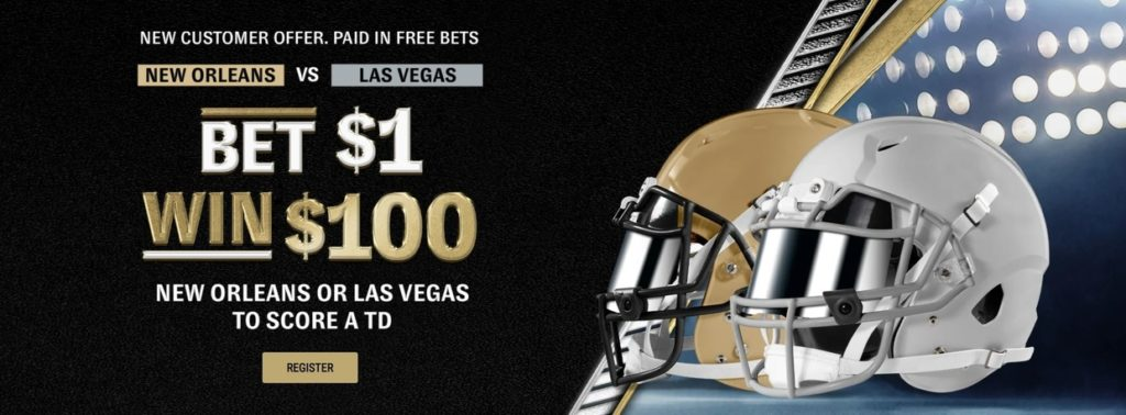 """""""Bet $1 Win $100 if either team scores a touchdown"""" offer for new customers registering at BetMGM"""