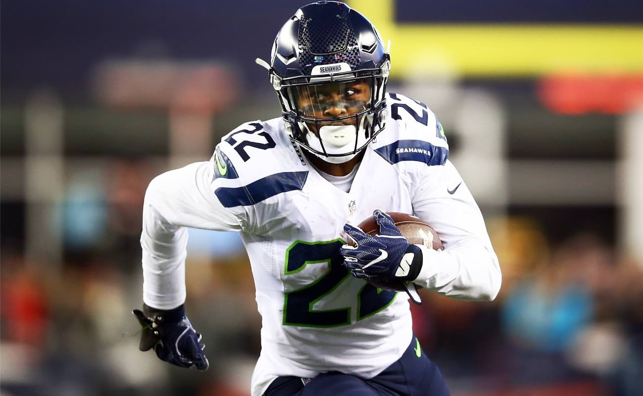 C.J. Prosise of Seattle Seahawks carries the ball at Gillette Stadium November 2016