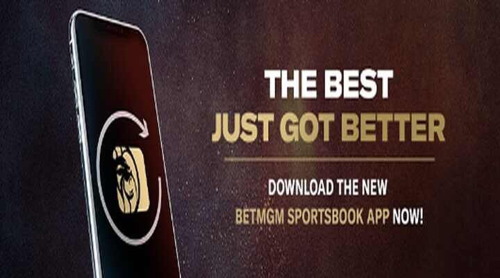 Smartphone featuring the BetMGM logo and a headline reading The Best Just Got Better