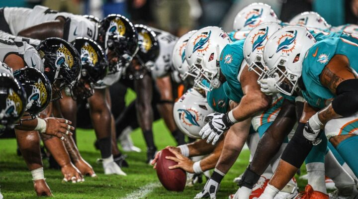 Miami Dolphins get ready to punt the ball during the preseason game against the Jacksonville Jaguars at Hard Rock Stadium on August 22, 2019 in Miami, Florida.