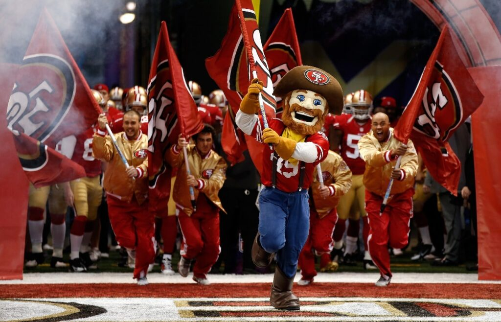 Sourdough Sam, mascot for the San Francisco 49ers, leads the 49ers onto the field against the Baltimore Ravens during Super Bowl XLVII at the Mercedes-Benz Superdome on February 3, 2013 in New Orleans, Louisiana.