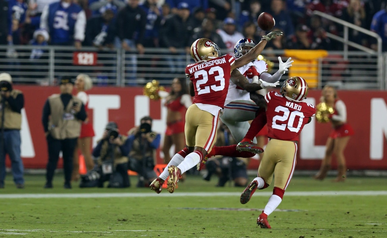 Ahkello Witherspoon #23 of the San Francisco 49ers in action during the game against the New York Giants at Levi Stadium on November 11, 2018 in Santa Clara, CA.