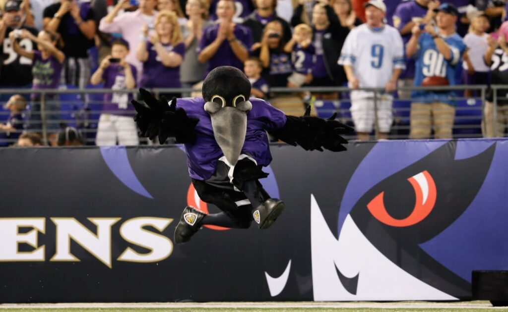 The Baltimore Ravens mascot Poe is introduced prior to the start of the Ravens game against the Detroit Lions at M&T Bank Stadium on August 17, 2012 in Baltimore, Maryland.