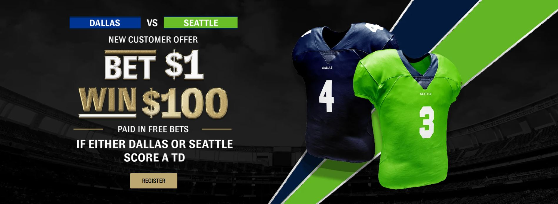 Bet $1 win $100 new customers offer banner for the Dallas vs Seattle NFL game