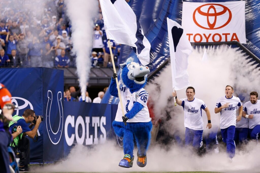 Indianapolis Colts mascot leads the team to the field before the game against the Philadelphia Eagles at Lucas Oil Stadium on September 15, 2014 in Indianapolis, Indiana.
