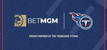 BetMGM and Tennessee Titans logos next to each other on a blue background