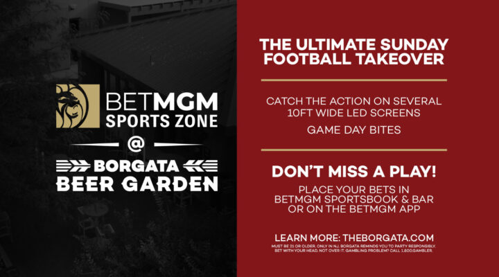 BetMGM Sports Zone at the Borgata Beer Garden banner with giveaway prize listed on the left