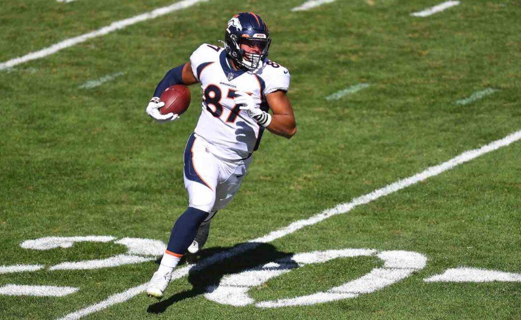 Noah Fant of Denver Broncos in action at Heinz Field September 2020