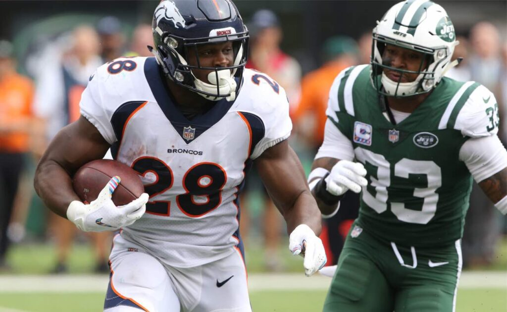 Royce Freeman #28 of the Denver Broncos against the New York Jet at MetLife Stadium October, 2018