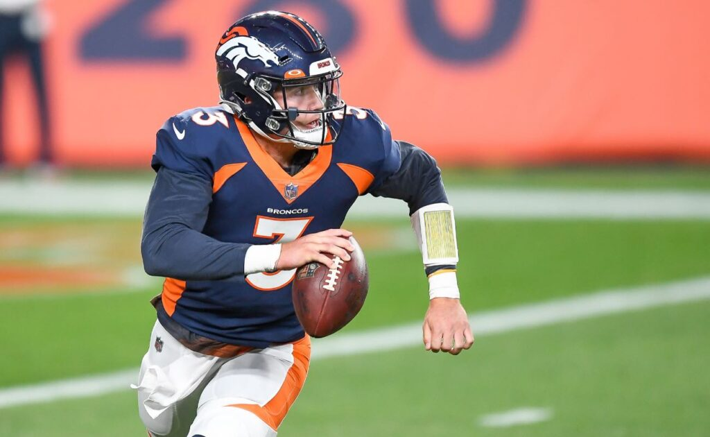 Drew Lock #3 of the Denver Broncos against the Tennessee Titans at Empower Field September 2020