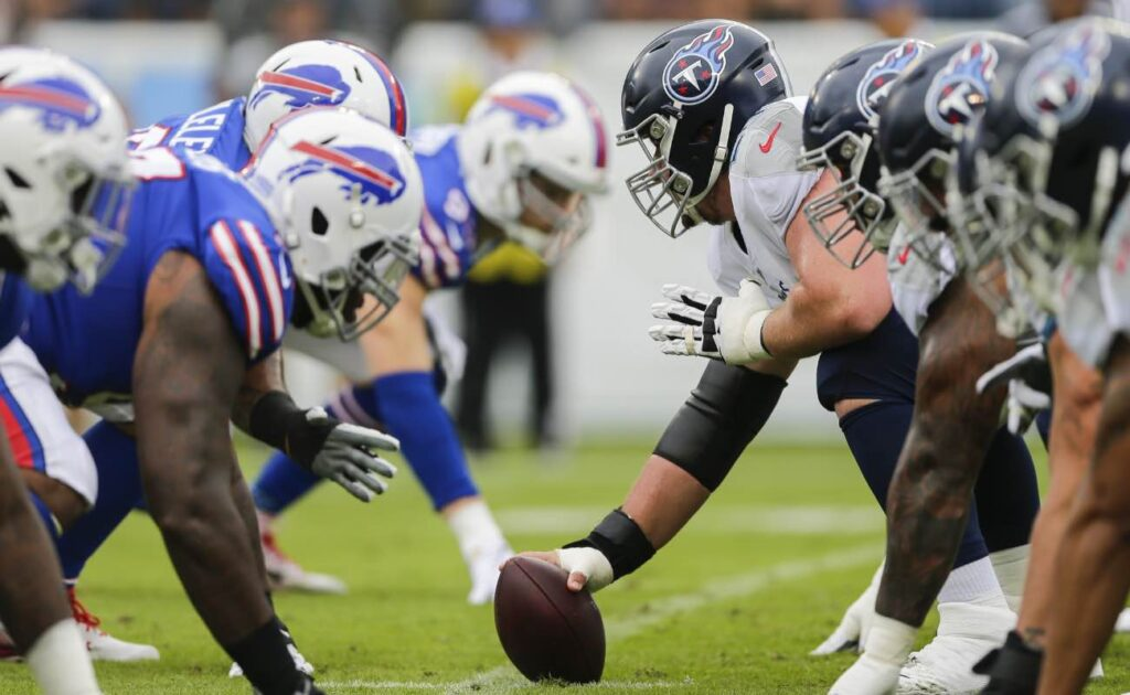 Tennessee Titans offensive line faces Buffalo Bills defensive line at Nissan Stadium in October 2019