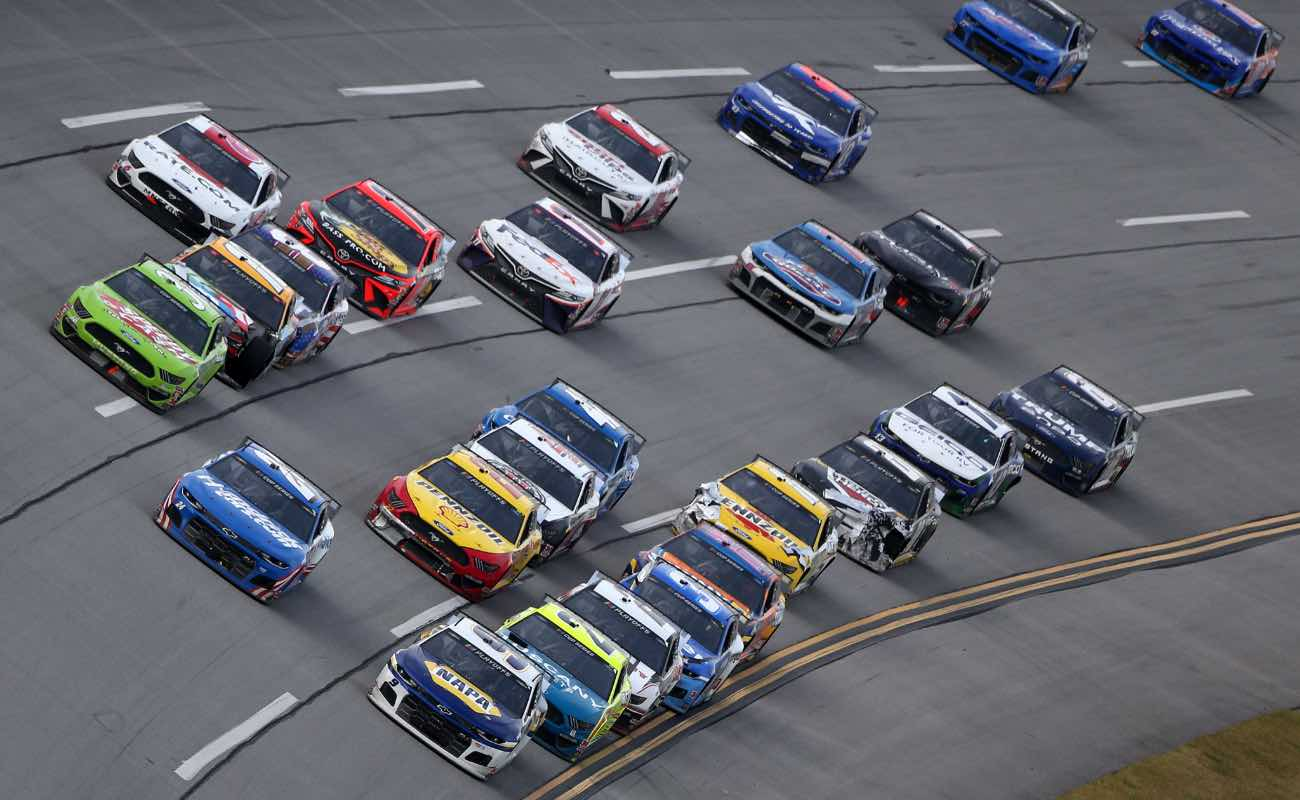 A pack of cars during NASCAR Cup Series YellaWood 500 at Talladega Superspeedway in October 2020