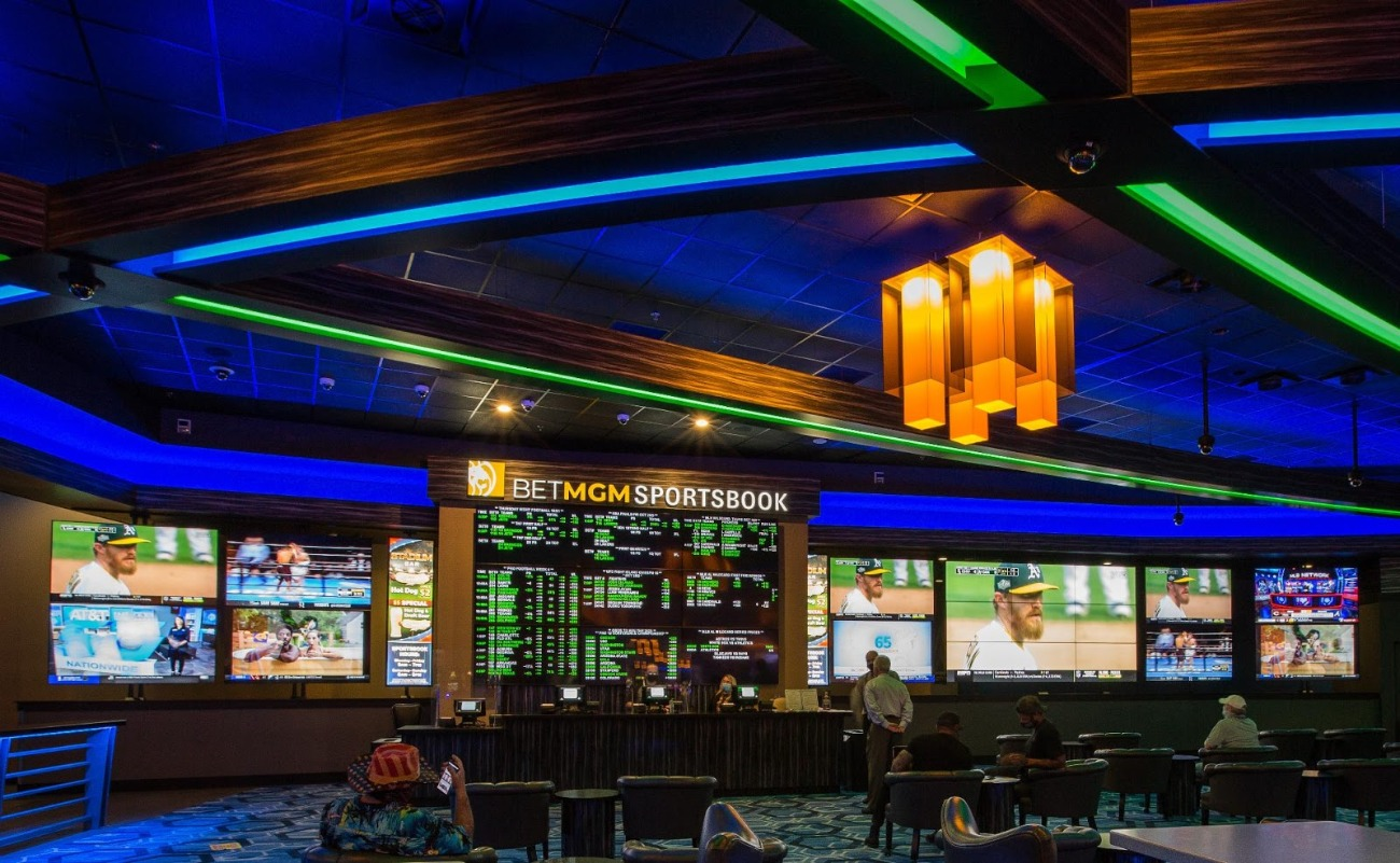 BetMGM Sportsbook at Spirit Mountain Casino in Oregon With Sports Betting Odds and Games on Big Screen TVs