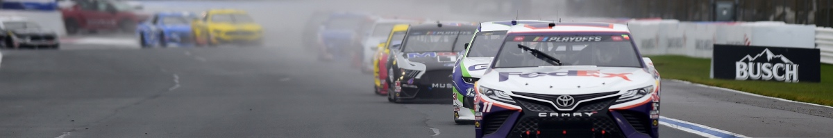 Denny Hamlin, driver of the #11 FedEx Ground Toyota, during the NASCAR Cup Series Bank of America Roval 400 October 2020