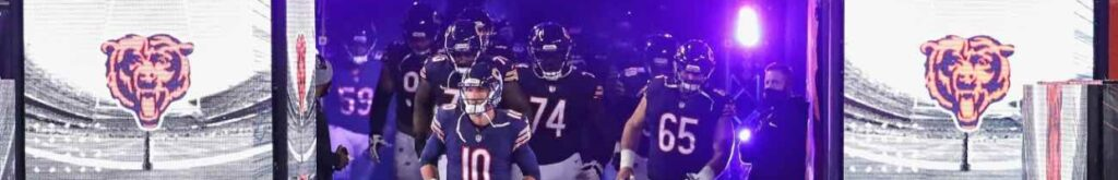 Members of the Chicago Bears run onto the field before a game against the Tampa Bay Buccaneers in October 2020