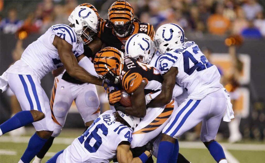 Quinton Flowers of Cincinnati Bengals against Indianapolis Colts defense at Paul Brown Stadium in August 2019