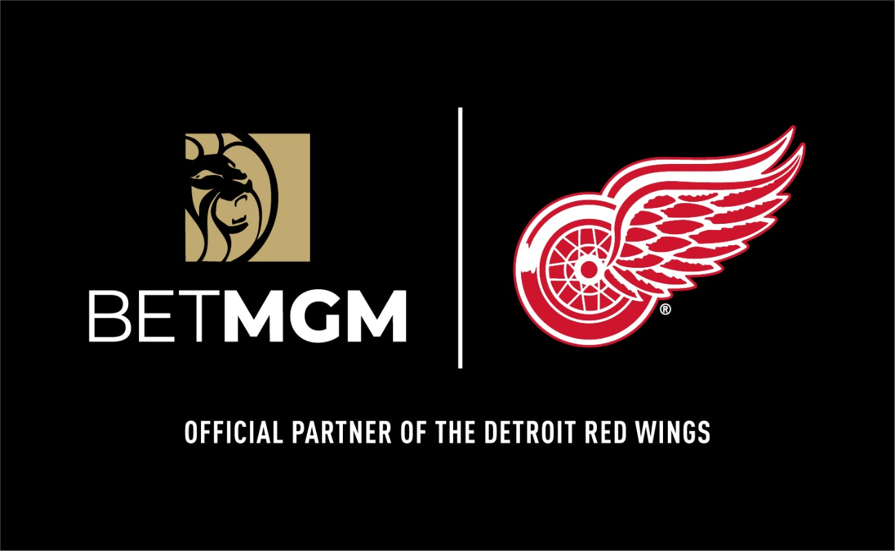 BetMGM and Detroit Red Wings logos side by side on a black background