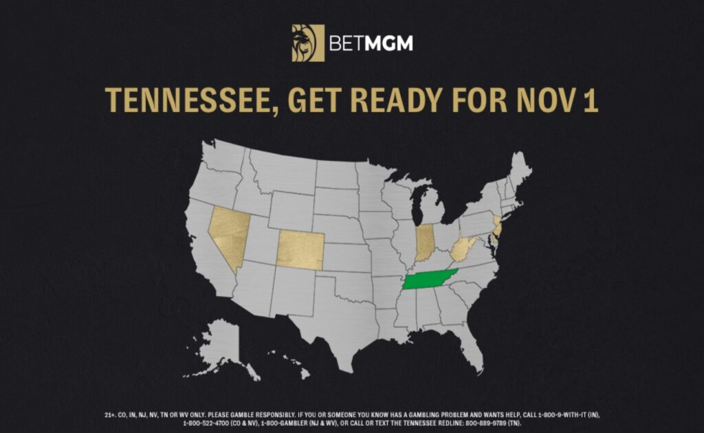 Map of the US which highlights the states where BetMGM is available