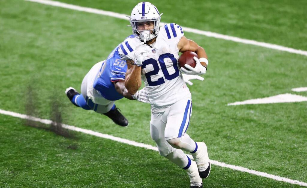Jordan Wilkins of Indianapolis Colts against the Detroit Lions at Ford Field November 2020.