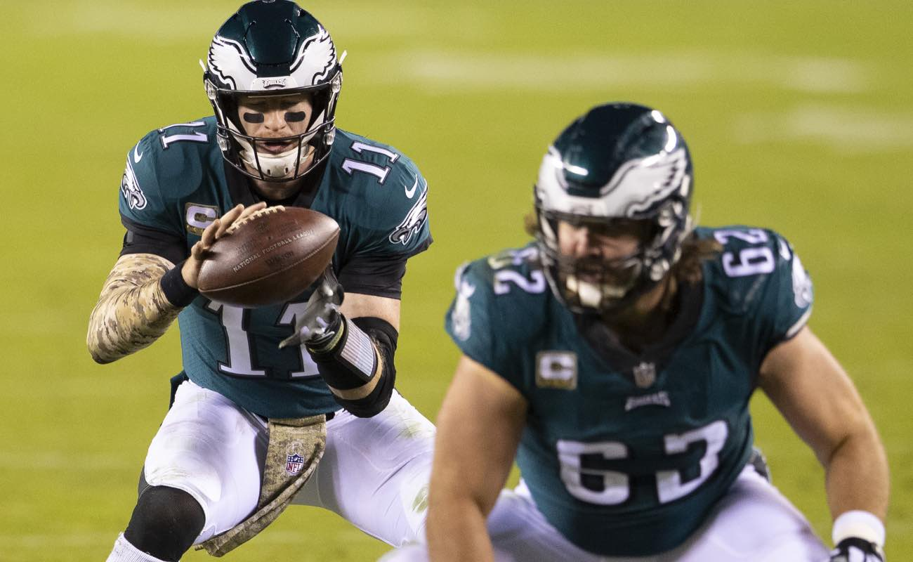 Jason Kelce and Carson Wentz of Philadelphia Eagles against the Dallas Cowboys at Lincoln Financial Field November 2020.