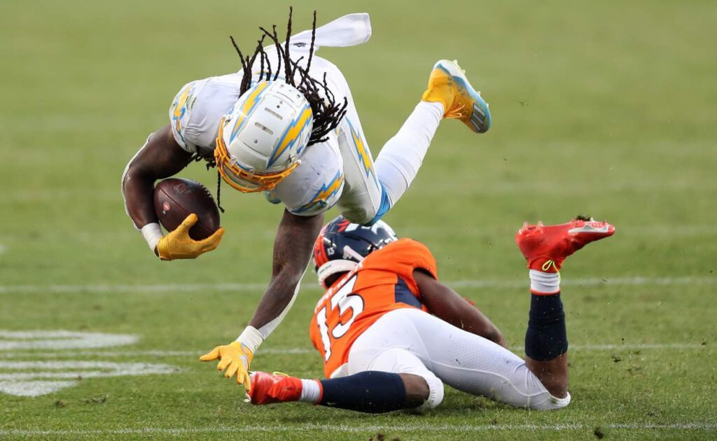 Rayshawn Jenkins of Los Angeles Chargers against KJ Hamler of Denver Broncos at Empower Field At Mile High November 2020.
