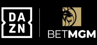 BetMGM logo next to the DAZN logo on a black background