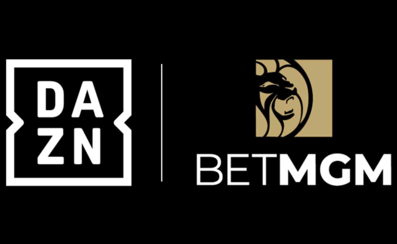 BetMGM logo next to the DAZN logo on a black background