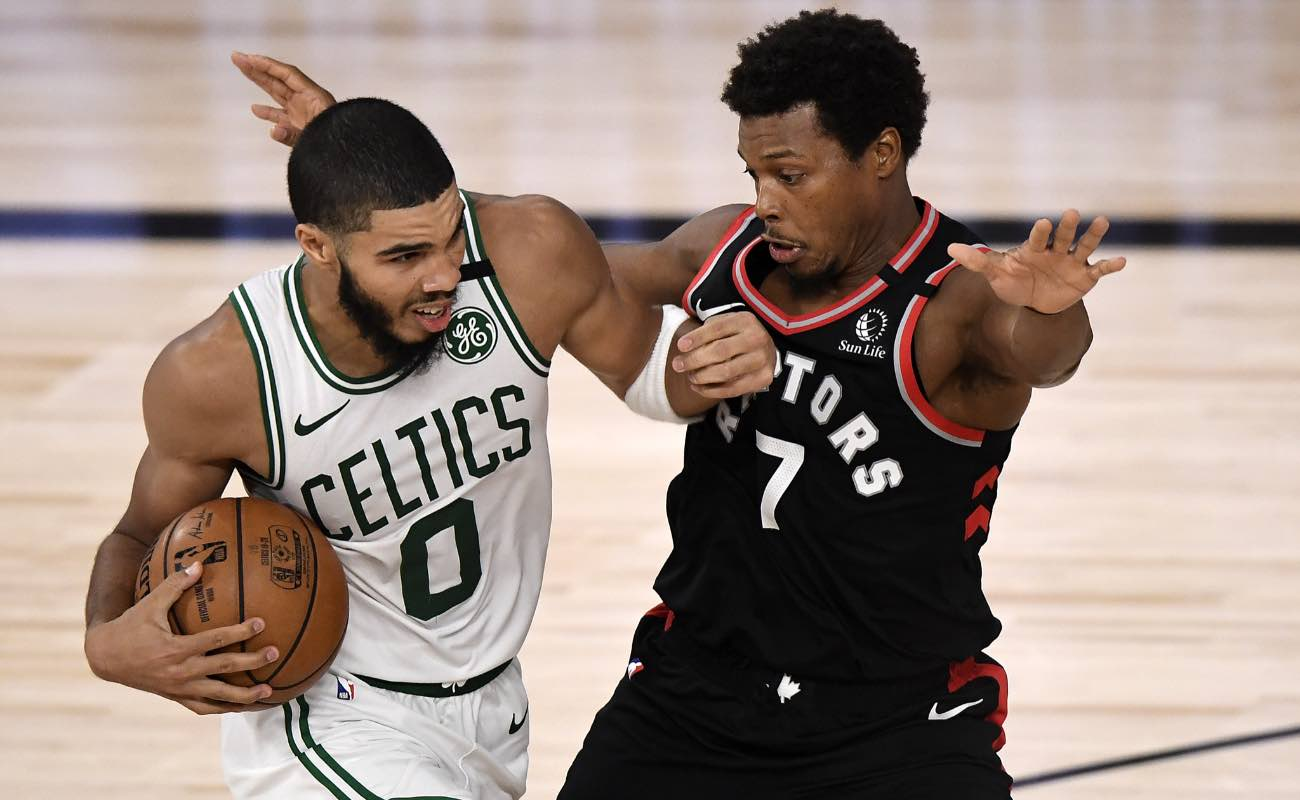 Jayson Tatum of Boston Celtics against Kyle Lowry of Toronto Raptors during the 2020 NBA Playoffs September 2020