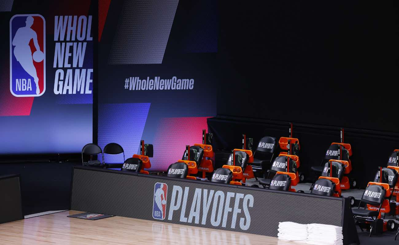 An empty court and bench at the Eastern Conference 2020 NBA Playoffs at ESPN Wide World Of Sports Complex August 2020