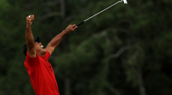 Tiger Woods of the United States celebrates winning the Masters during the final roubnd at Augusta National Golf Club on April 14, 2019 in Augusta, Georgia. (Photo by Mike Ehrmann/Getty Images)