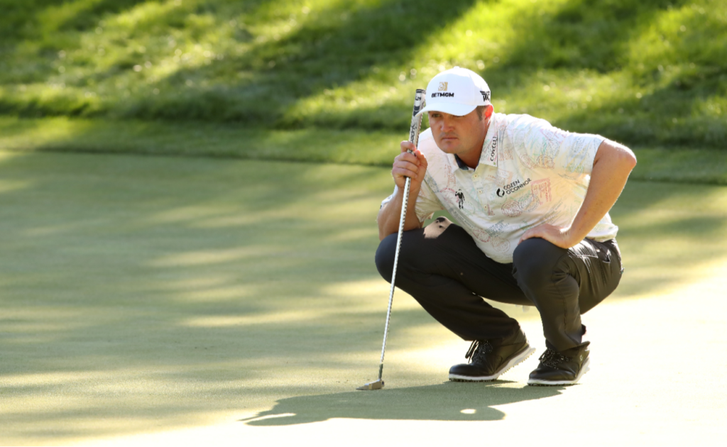 Jason Kokrak of the United States lines up a putt on the 15th green during the final round of The CJ Cup @ Shadow Creek on October 18, 2020 in Las Vegas, Nevada.