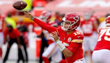 Patrick Mahomes of Kansas City Chiefs against the Carolina Panthers at Arrowhead Stadium November 2020.