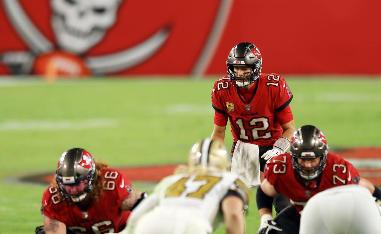 Tom Brady of Tampa Bay Buccaneers against the New Orleans Saints at Raymond James Stadium November 2020.