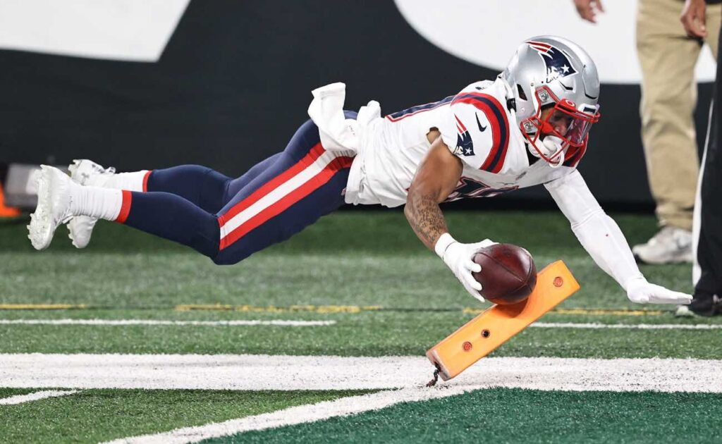 Damiere Byrd of New England Patriots against the New York Jets at MetLife Stadium November 2020