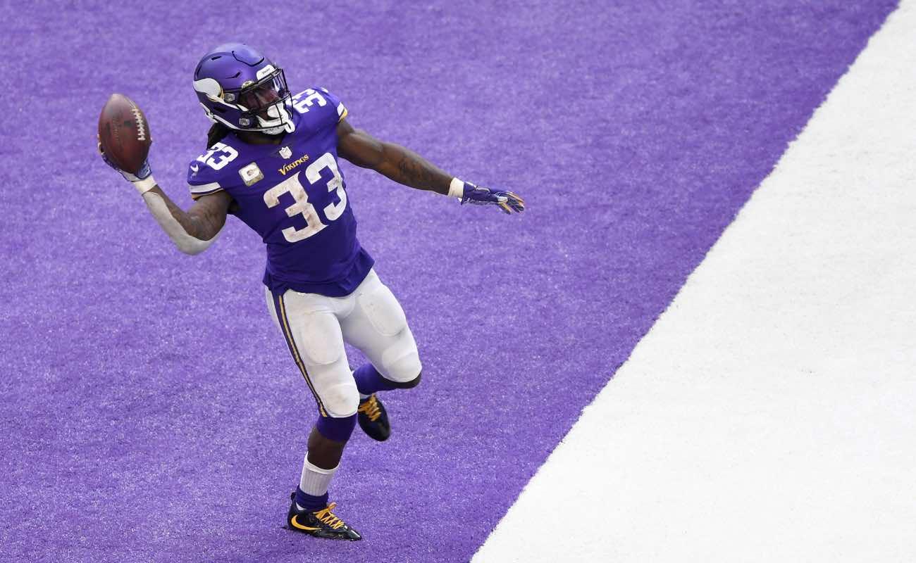 Dalvin Cook of Minnesota Vikings against the Detroit Lions at U.S. Bank Stadium November 2020.