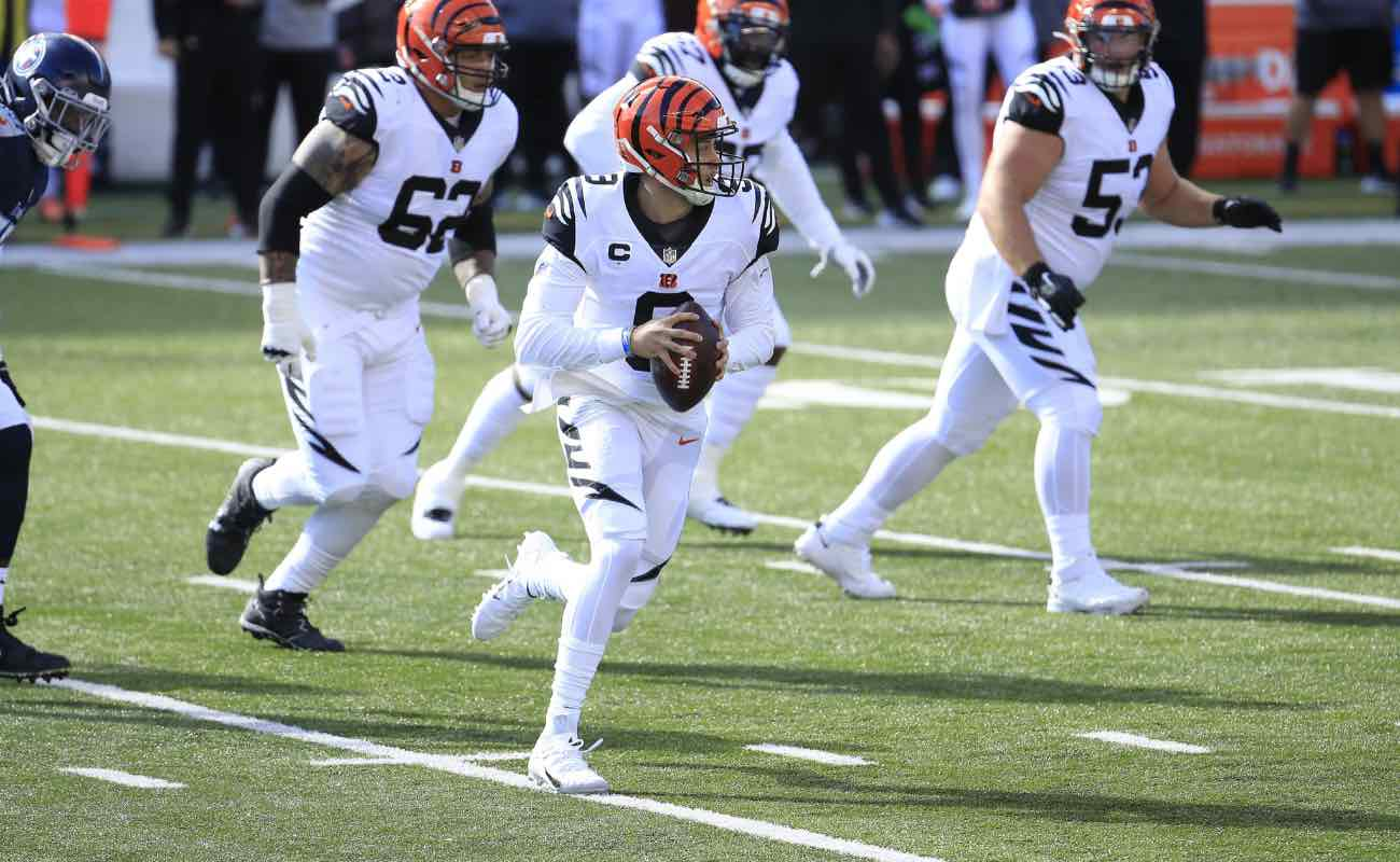 Joe Burrow of Cincinnati Bengals against the Tennessee Titans at Paul Brown Stadium November 2020