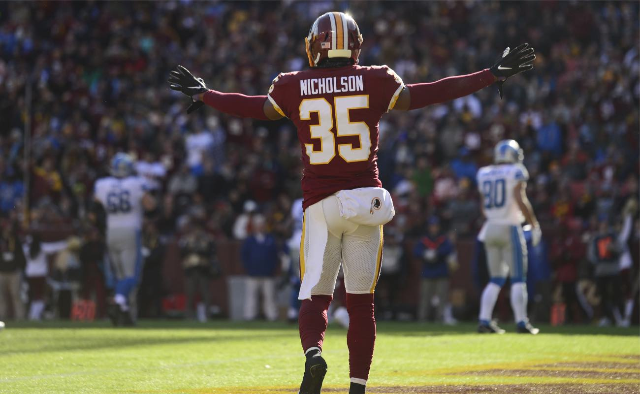 Montae Nicholson of Washington Redskins against the Detroit Lions at FedExField November 2019. Photo by Patrick McDermott/Getty Images.