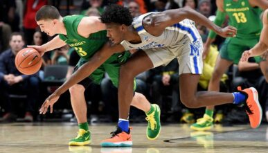 James Wiseman takes ball away from Payton Pritchard. Steve Dykes/Getty Images