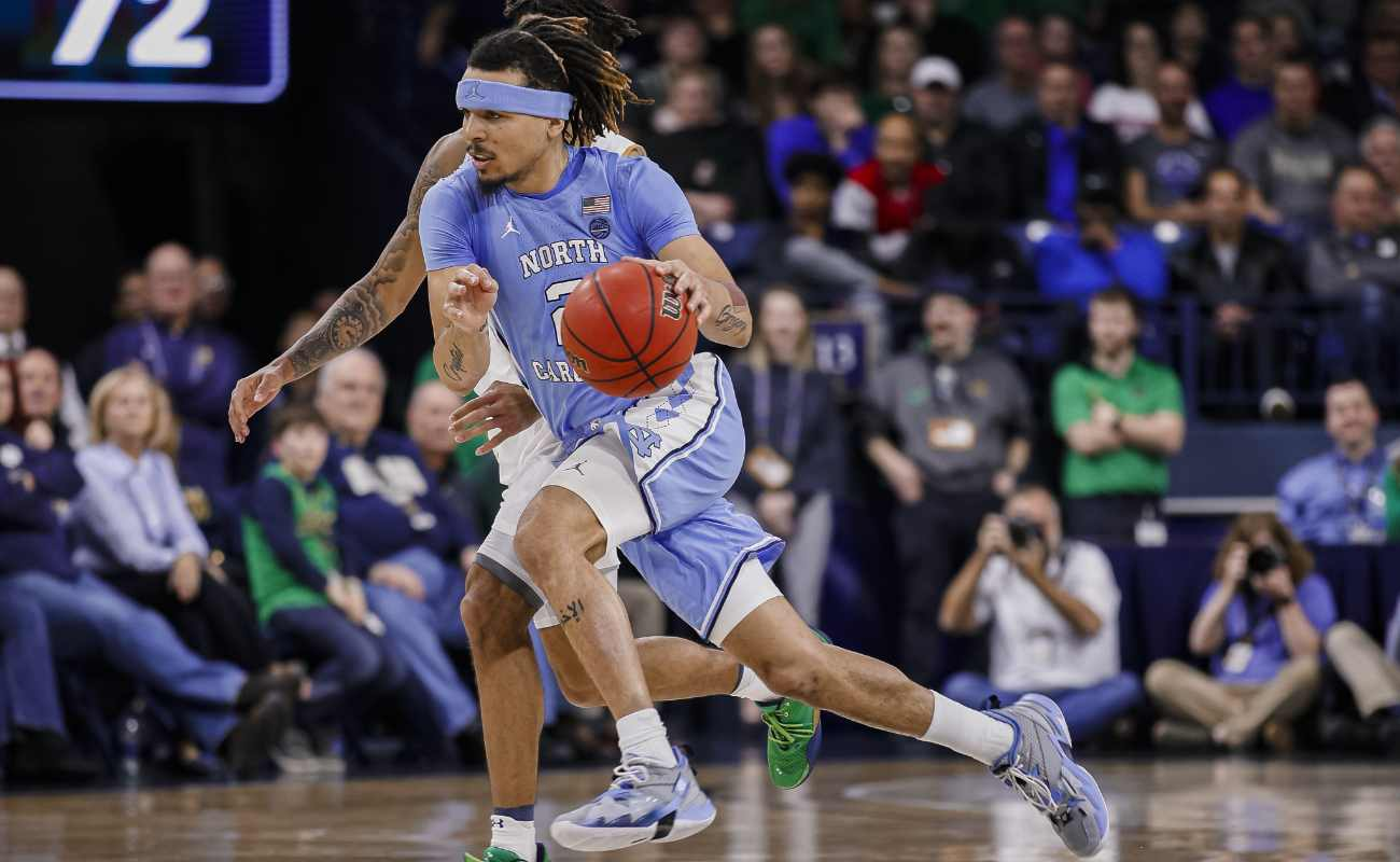 Cole Anthony dribbles the ball. Michael Hickey/Getty Images