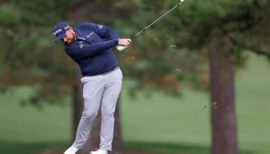 NOVEMBER 14: Shane Lowry of Northern Ireland plays a shot on the 17th hole during the continuation of the second round of the Masters at Augusta National Golf Club on November 14, 2020 in Augusta, Georgia.