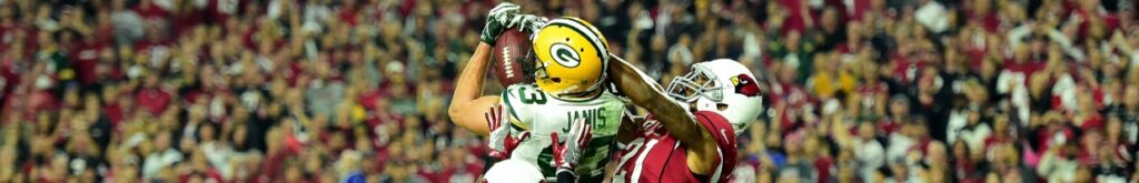 Jeff Janis of Green Bay Packers catches a 41-yard touchdown against Patrick Peterson of Arizona Cardinals at University of Phoenix Stadium on January 16, 2016. Photo by Harry How/Getty Images.