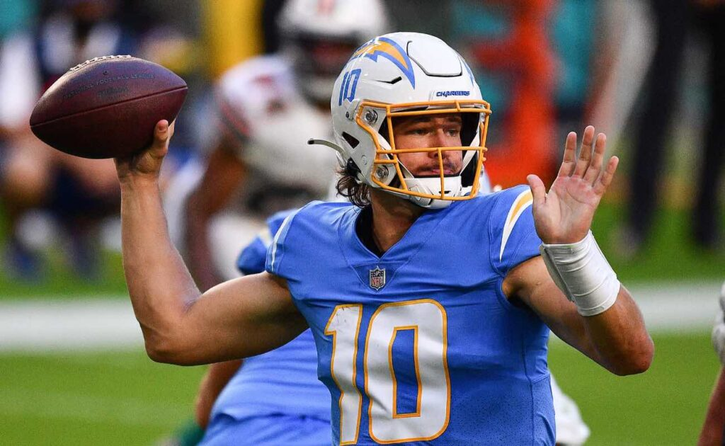 Justin Herbert of Los Angeles Chargers against the Miami Dolphins at Hard Rock Stadium November 2020.