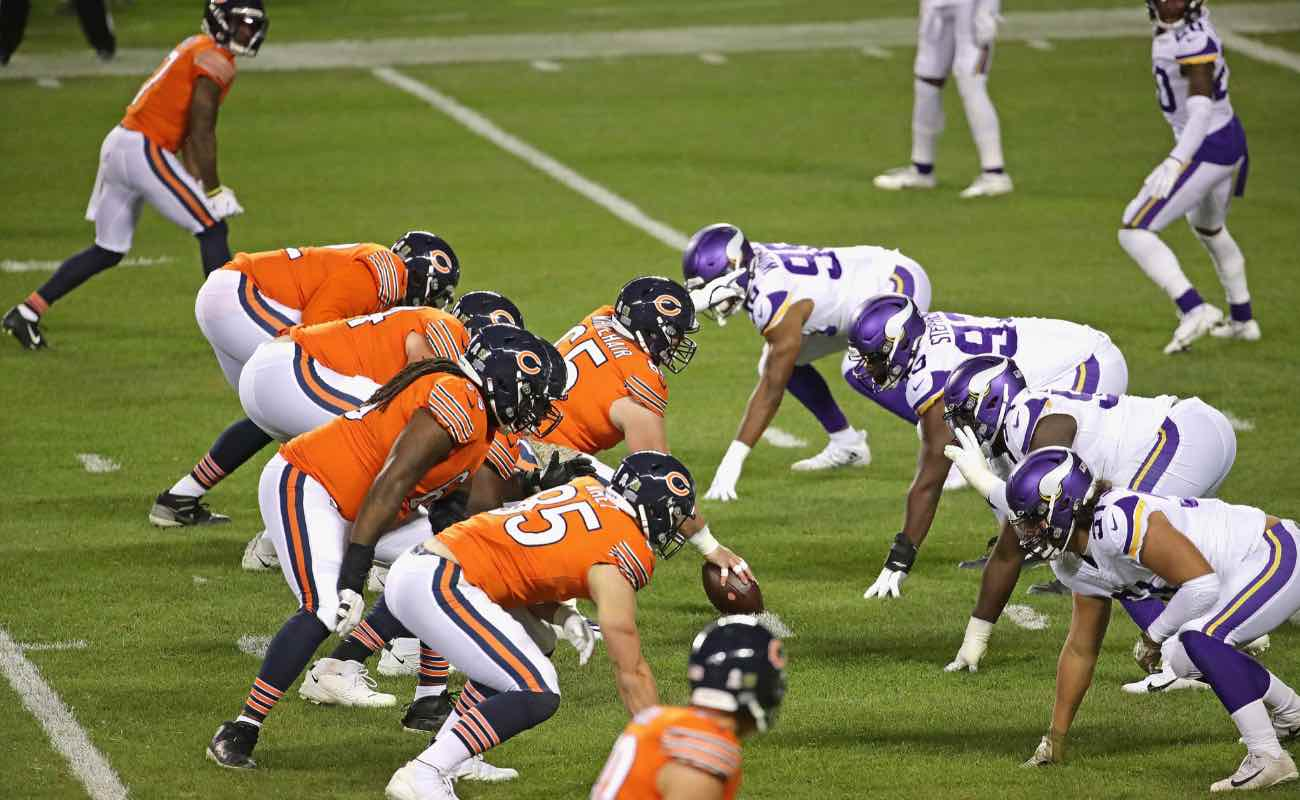 The Chicago Bears offensive line faces off against the Minnesota Viking defensive line at Soldier Field November 2020.