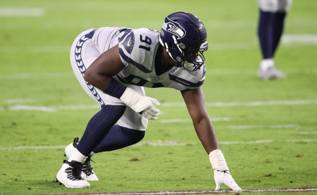 L.J. Collier of Seattle Seahawks against the Arizona Cardinals at State Farm Stadium October 2020.