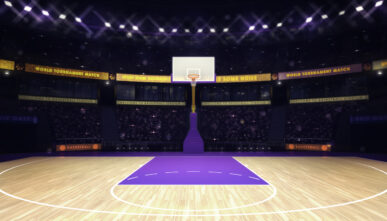 illuminated basketball basket on purple paint with spectators and spotlights in the background.