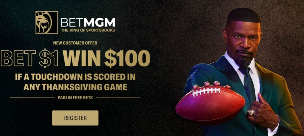 BetMGM's Thanksgiving offer banner with brand ambassador Jamie Foxx