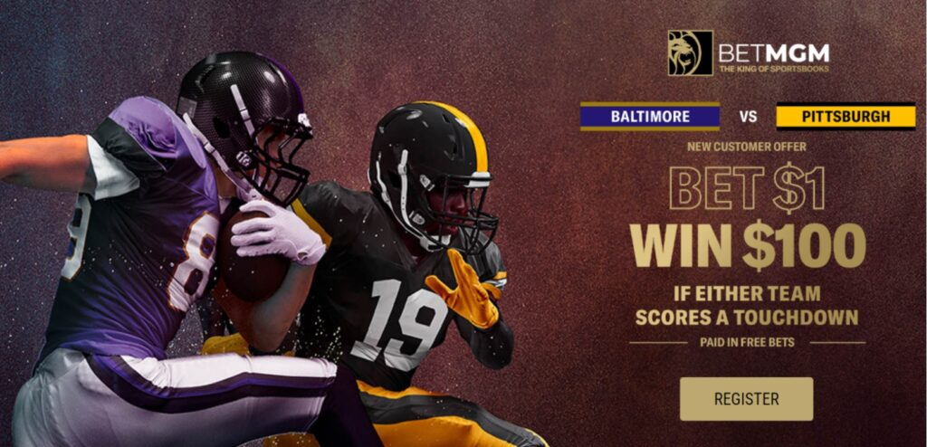 Thanksgiving offer banner for the Baltimore vs. Pittsburgh game with two football players on the left