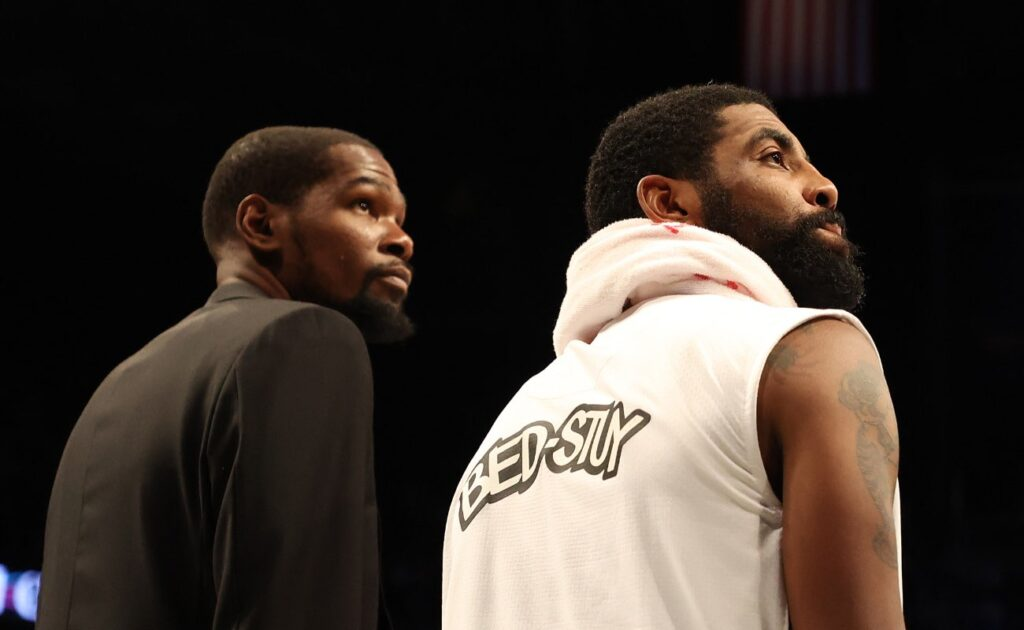 Kevin Durant and Kyrie Irving of the Brooklyn Nets during their game against the Milwaukee Bucks at Barclays Center January 2020.